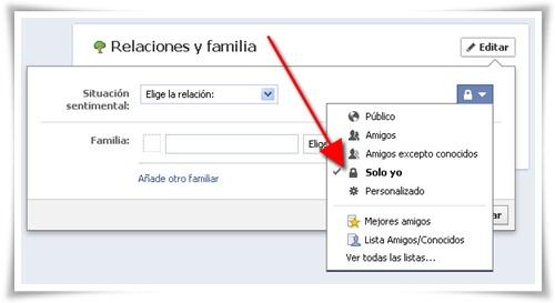 Cómo cambiar la situación sentimental en Facebook sin informar a todo el mundo