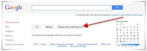 Cómo borrar el historial de búsquedas de Google 02