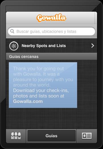 El cierre de Gowalla en la aplicación de iPhone