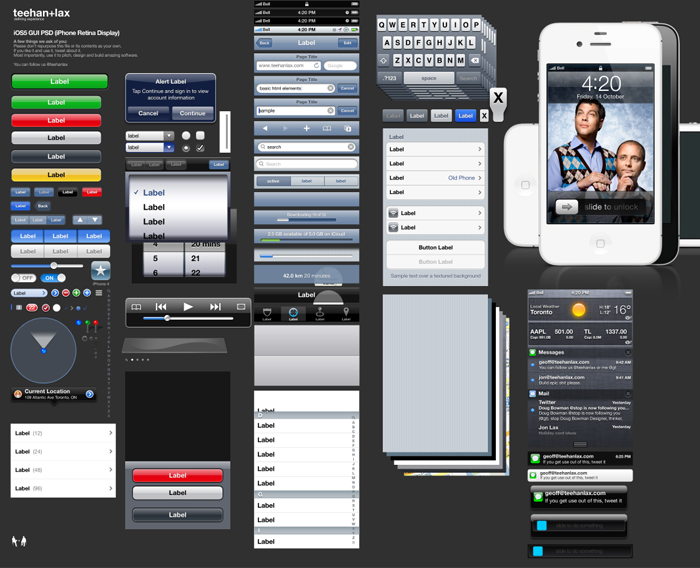 Plantilla Photoshop diseño aplicaciones iOS 5 - iPhone 4S