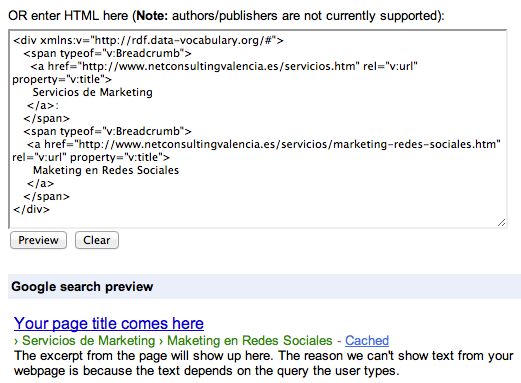 Rich Snippets Test Tool