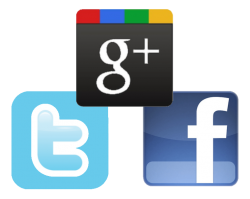 Google Plus, Twitter, Facebook