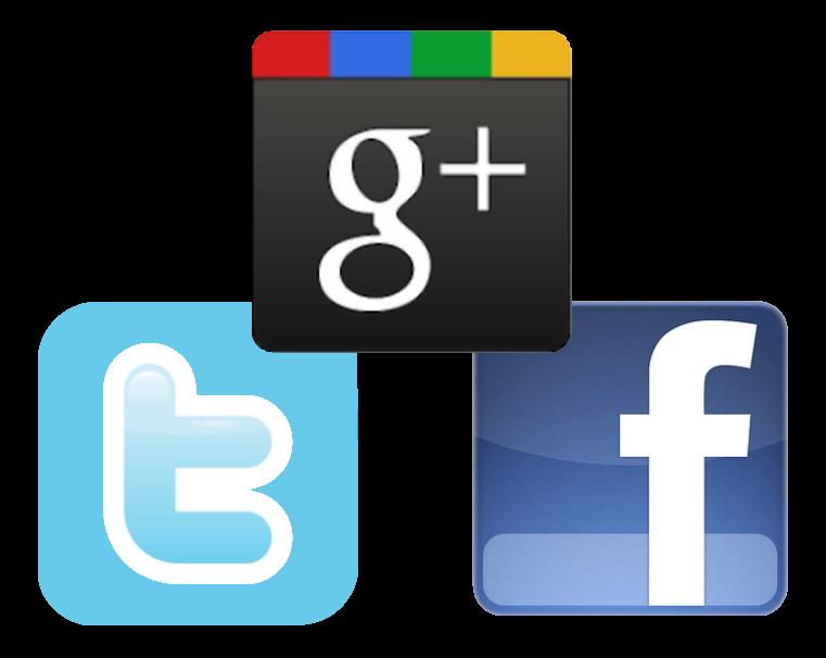 Google Plus, Twitter, Facebook