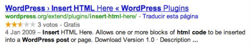 Rich Snippets en resultados de Google - Ejemplo