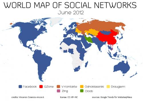 Mapa mundial de redes sociales año 2012