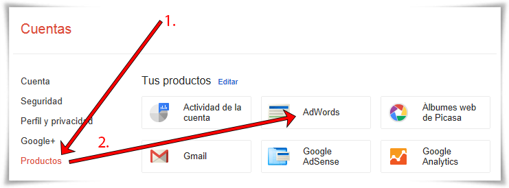 Enlazar Google AdWords con Google Analytics - Paso 02 de 10