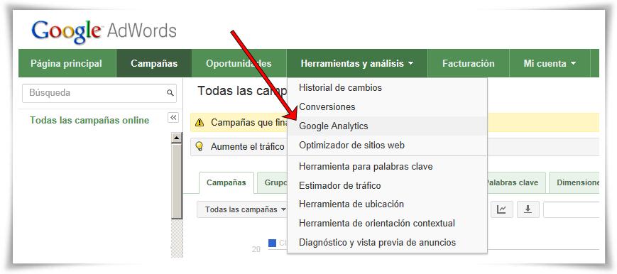 Enlazar Google AdWords con Google Analytics - Paso 03 de 10