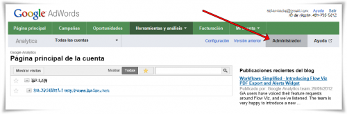 Enlazar Google AdWords con Google Analytics - Paso 04 de 10