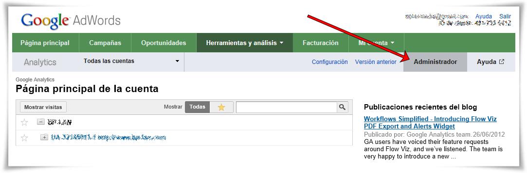 Enlazar Google AdWords con Google Analytics - Paso 04 de 10