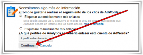 Enlazar Google AdWords con Google Analytics - Paso 09 de 10