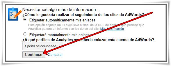 Enlazar Google AdWords con Google Analytics - Paso 09 de 10