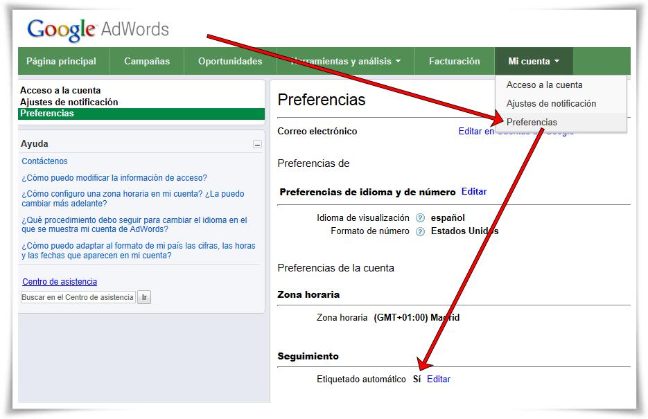Enlazar Google AdWords con Google Analytics - Comprobar etiquetado automático