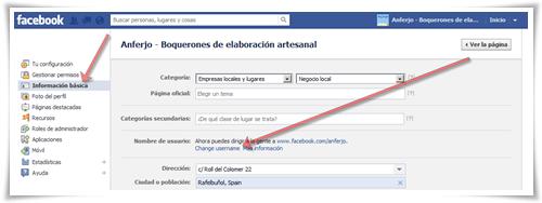 Cómo cambiar el nombre de usuario / URL amigable de una página de Facebook