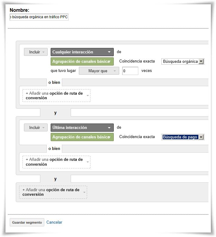 Segmento 3: Efecto búsqueda orgánica en tráfico PPC