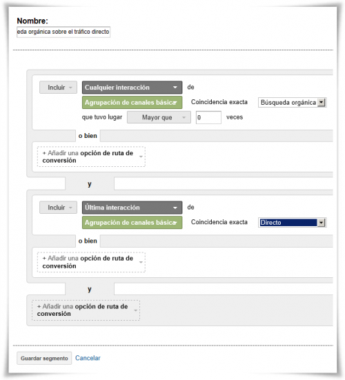 Segmento 5: Efecto de la búsqueda orgánica sobre el tráfico directo