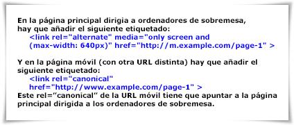 "Etiquetado de URLS para móviles (webs que no son ""responsive web design"")"