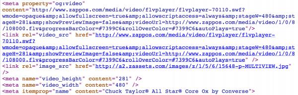 Ejemplo Open Graph Video: Zappos