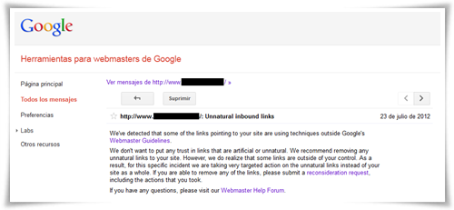 Aviso de Google Webmaster Tools: Enlaces no naturales