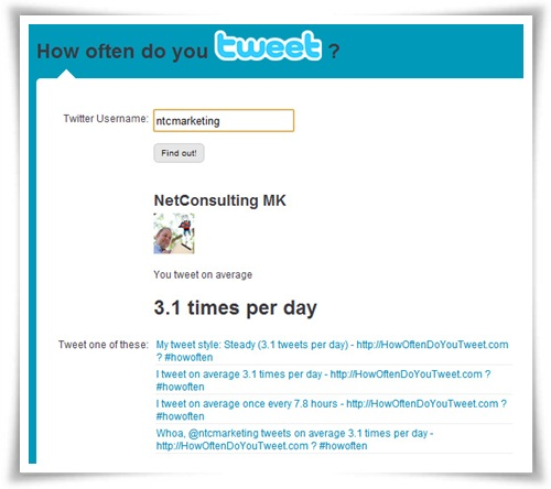 Antigüedad de una cuenta de Twitter - Tweets por día
