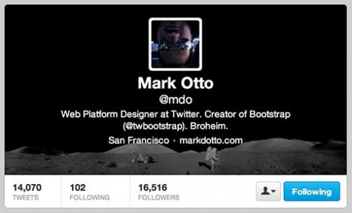 Ejemplo de personalización del encabezado del perfil de Twitter