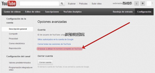 Desvincular YouTube y Google+ 3/3
