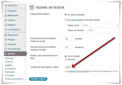 WordPress - Error de codificación UTF-7