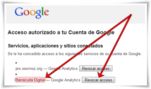 Revocar acceso a Panguin Tool - Barracuda Digital — Google Analytics