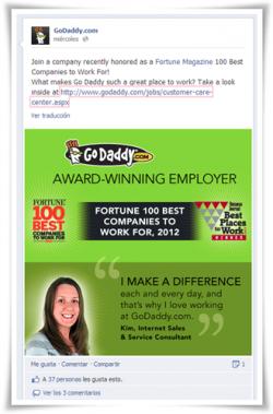 Las imágenes de Facebook no podrán tener más del 20% de texto: Ejemplo GoDaddy