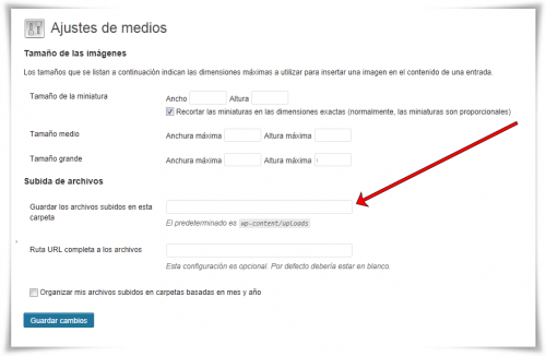 Ajustes de Medios en WordPress (antiguo)