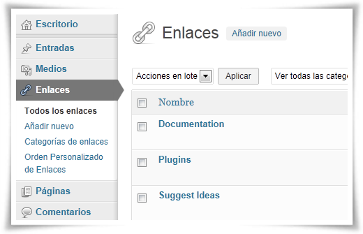 Gestor de enlaces WordPress - WordPress Link Manager