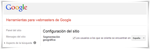 Segmentación geográfico Google WebMaster Tools (dominio genérico que permite cambios)