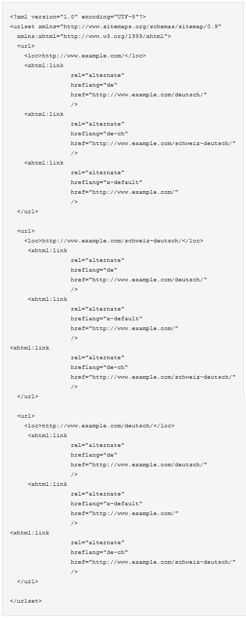 "Sitemaps: rel=""alternate"" hreflang=""x"""