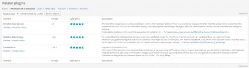 Antiguo aspecto de la búsqueda de plugins de WordPress
