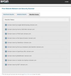 Sucuri Web Scanner: Blacklists