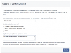 Si se te bloqueó al intentar compartir un enlace, por favor informa a Facebook