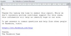 Email respuesta al formulario de ayuda: Website or Content Blocked