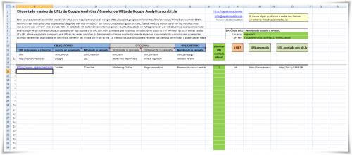 Excel para etiquetar enlaces y acortar con bit.ly