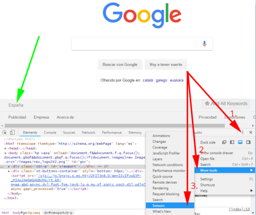 Chrome DEV Tools: Activar sensores Google Chrome