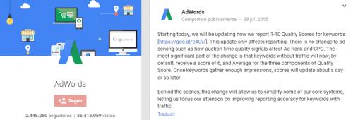 Actualización del factor de calidad de Google AdWords