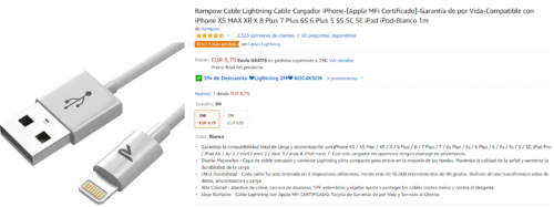Rampow Cable Lightning Cable Cargador iPhone-[Apple MFi Certificado]-Garantía de por Vida-Compatible con iPhone XS MAX XR X 8 Plus 7 Plus 6S 6 Plus 5 5S 5C SE iPad iPod-Blanco 1m