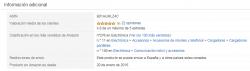 Amazon: Información adicional ficha de producto