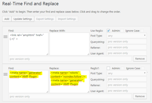 AMP plugin: Add No index with Real-Time Find and Replace
