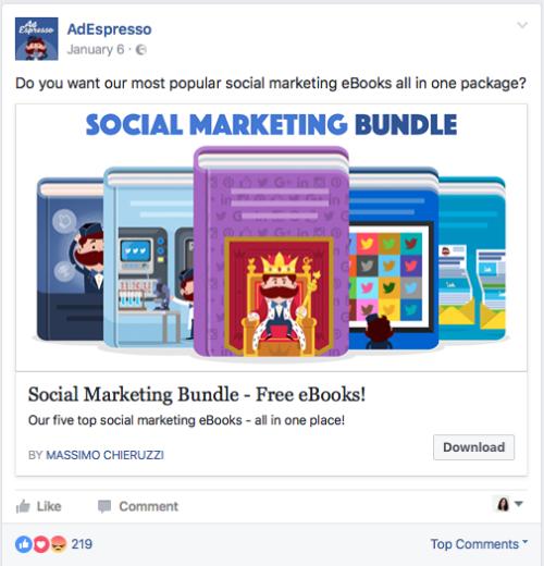 Anuncio Facebook estático para experimento AdEspresso