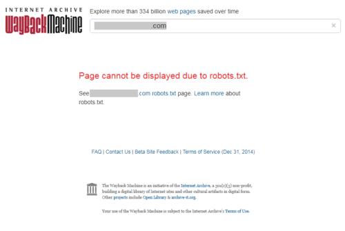Página bloqueada en archive.org por directivas de robots.txt