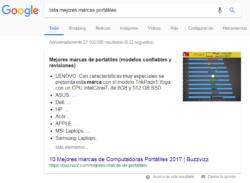 Ejemplo de fragmento destacado en la búsqueda