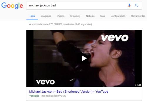 Ejemplo de fragmentos destacado en la búsqueda: VÍDEO