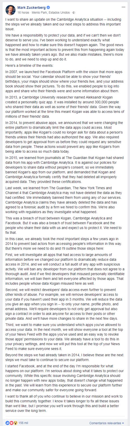 Explicación de la filtración de los datos de Facebook por Mark Zuckerberg