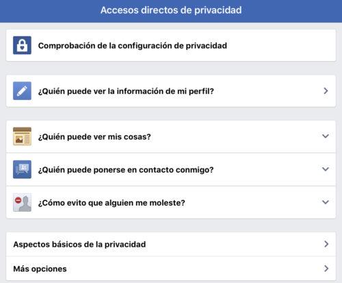 Facebook: Accesos directos privacidad