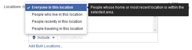 Opciones de segmentación geográfica por localización