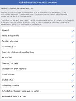 Facebook: Información que compartimos con aplicaciones de nuestros amigos